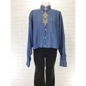 EUC Tommy Hilfiger Denim Chambray Cropped Button